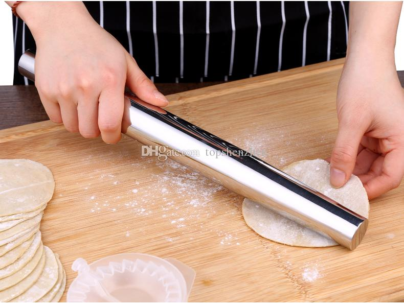 Professional Rolling Pin for Baking Smooth Stainless Steel Metal & Tapered Design Best for Fondant, Pie Crust, Cookie & Pastry Dough Roller