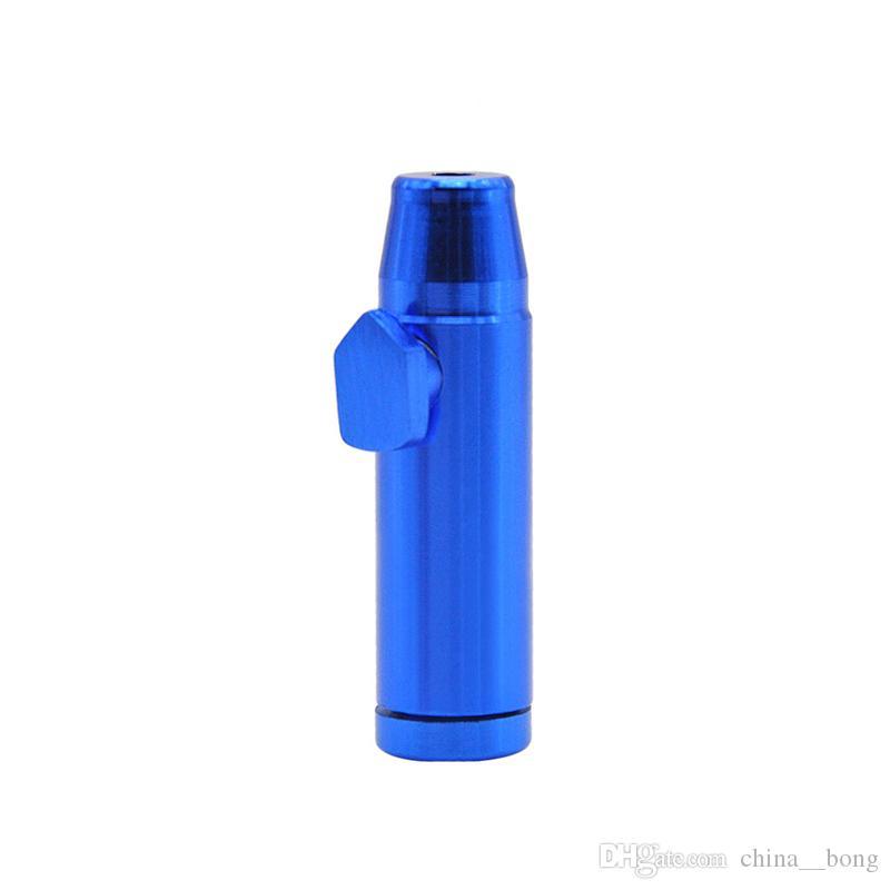 Tubos de tabaco Aluminio metal Bala En forma de cohete Snuff Snorter Sniff Dispenser Nasal Smoking Pipe Sniffer glass bongs Pipa de tabaco resistente