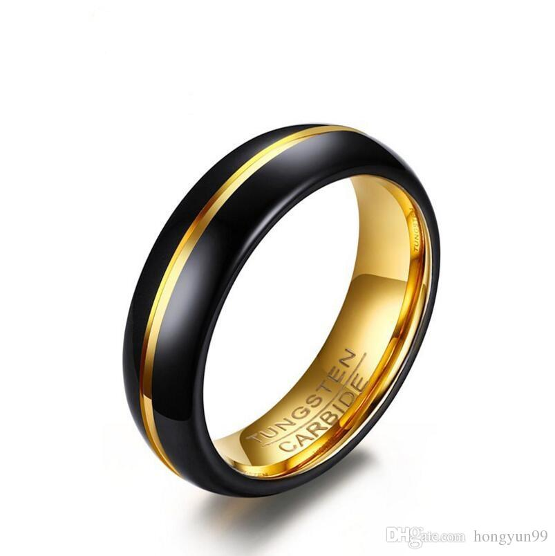Fashion Black And Gold Color Tungsten Wedding Ring For Men And Women