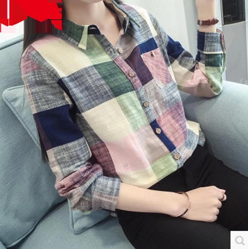 2017 Yeni Bağbozumu Uzun Kollu Ekose Sonbahar Bluz kadın Bluz Gömlek Kadın Blusas Beyaz Bayanlar Kadınlar için Pamuk Gömlek Tops