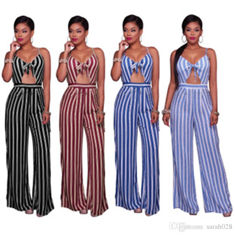 094e8379cc 2019 Long Jumpsuits For Women Sexy Blue And White Striped Backless Spaghetti  Strap Casual Loose Jumpsuit Rompers From Sarah028