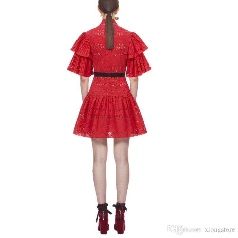 2019 Women Dresses High quality Runway hollow out Dress women Flare Sleeve Red white Lace Half Sleeve elegant sexy V-Neck Pleated Dress