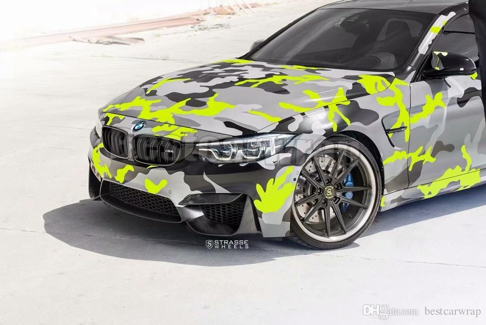 Snow Yellow Black Gray Camouflage Vinyl Wrap For Vehicle Car Wrap