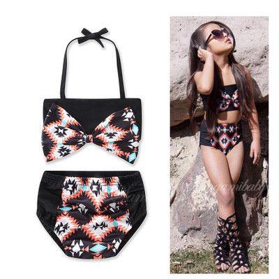1b2341727 Compre Cool Girls Swimsuits Bright Black Bowknot Con Cordones Halter Bra  Tops Bow Printed Black Briefs Split Swimsuits Spa Wears Traje De Baño Para  Niños A ...