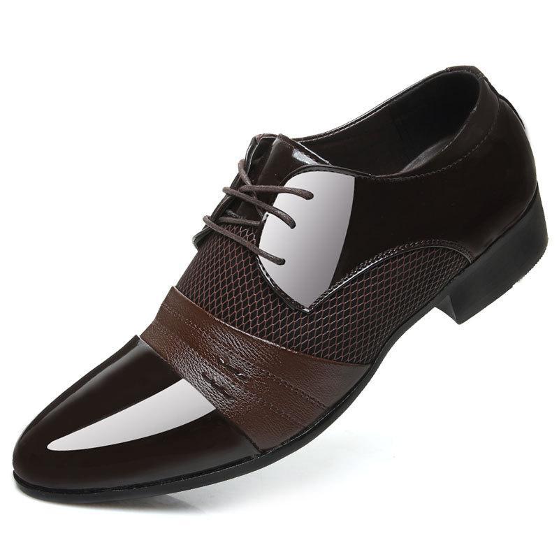 Men s Dress Shoes Fashion Leather Men Business Flat Shoes Black ... 3a16895597e8