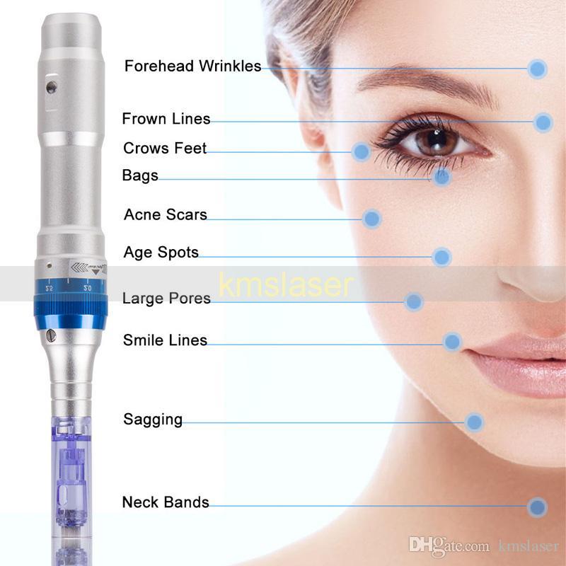 Microneedling Therapy Microneedle Derma Pen eléctrico Dr Pen recargable Ultima A6 Dr.pen Anti Envejecimiento con 30 piezas de agujas libres en la cabeza