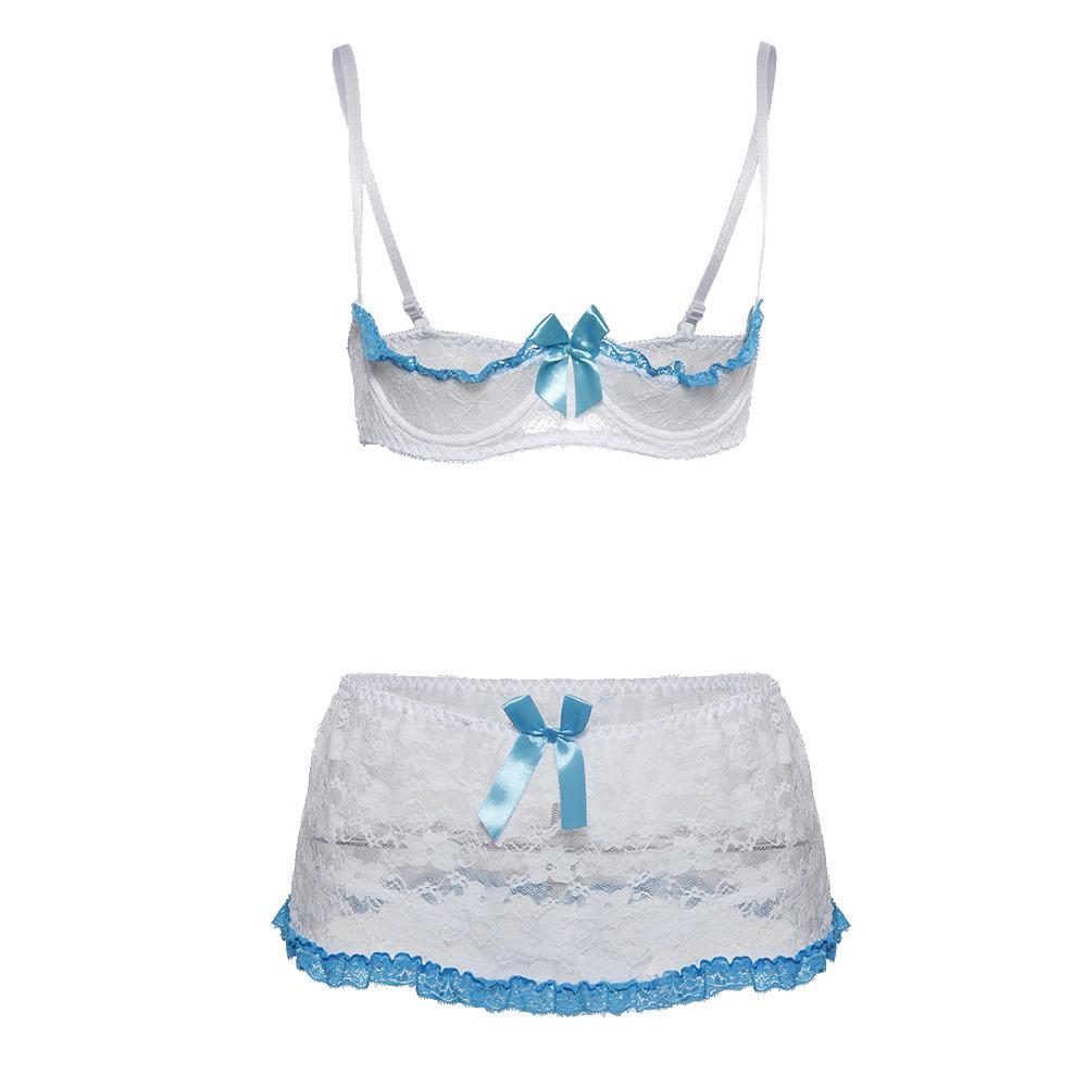 Plus Size Cupless Bra Sets Lace Open Cup Bra and Garter Skirt Sleepwear Set Babydoll Erotic Underwear Women Sexy Lingerie Set