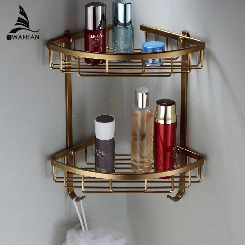 Badezimmer Regale 2 Schicht Antiken Metall Dusche Ecke Regal Wandhalterung  Shampoo Lagerregal Rack Bad Korb Halter MJ-7011