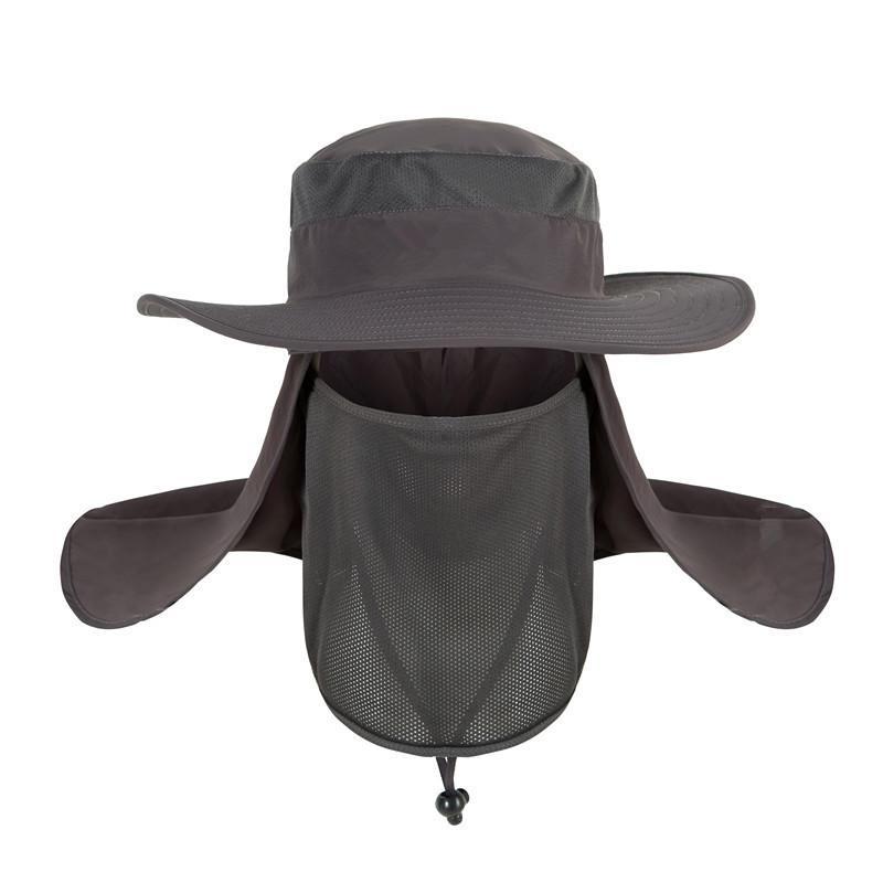 Nylon pêche en plein air été ombre soleil crème solaire protection solaire cou visage 360 ° anti-UV chapeau de pêcheur combinaison fonction casquette chapeaux