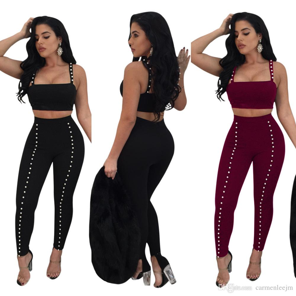 100936b064752 2019 Sexy Two Piece Outfits Tight Bandage Tops Bodycon Long Pants 2018 New  Year Christmas Party Night Out Clubwear Sexy Dresses Party Outfit From ...