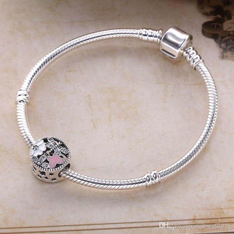 Springtime Charms Beads Authentic 925 Sterling-Silver-Jewelry Pink Enamel Butterfly Animal Bead DIY Charm Bracelets Accessories HB613