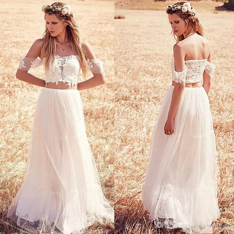 383f3e5ae667f Discount Two Pieces Lace Wedding Dresses Tulle Crop Top Off Shoulder Summer  Beach Wedding Dresses Short Sleeves Cheap Country Bridal Gown Beautiful  Bridal ...