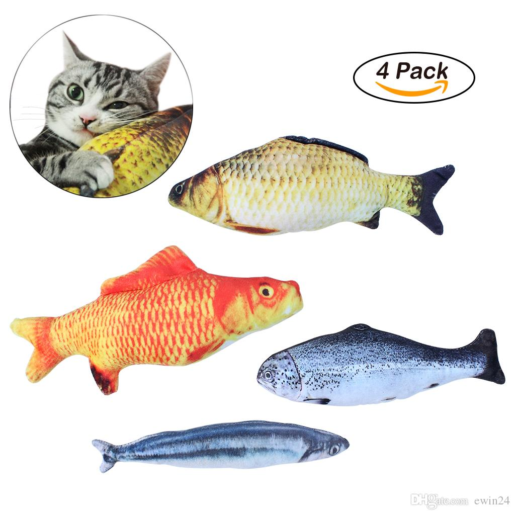 Catnip Toys Simulation Plush Fish Shape Doll Interactive Pets Pillow Chew Bite Supplies for Cat Kitty Kitten Fish Flop Cat Toy