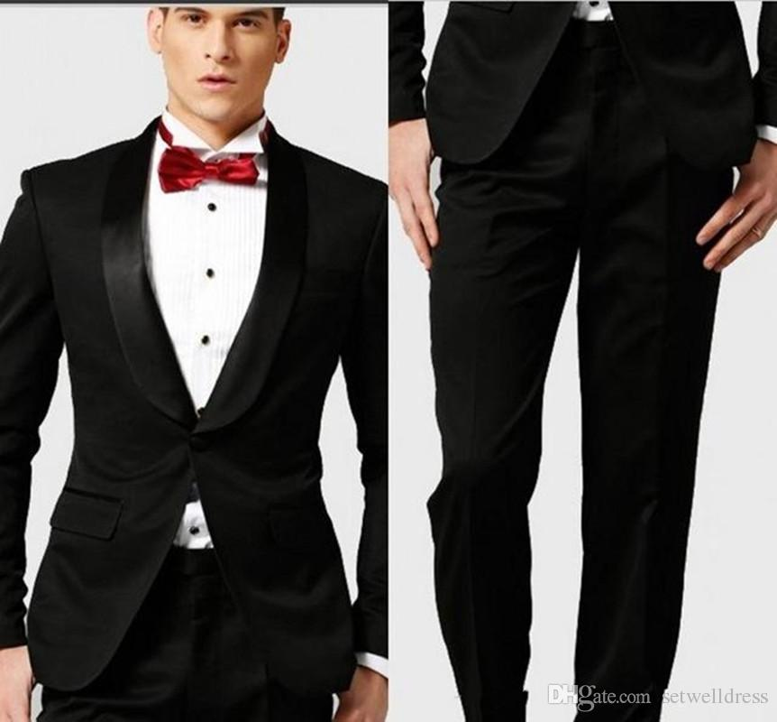 Classy Black Groom Tuxedos Cheap Groomsmen Suits Shawl Lapel Best ...