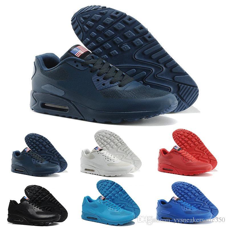 4c51bcca9 Compre Nike Air Max 90 Flag America 2018 Nuevo Caliente Hombres Unisex  Mujeres EE. UU. 90 Maxies P BANDERA Americana Zapatos Casuales Día De La ...