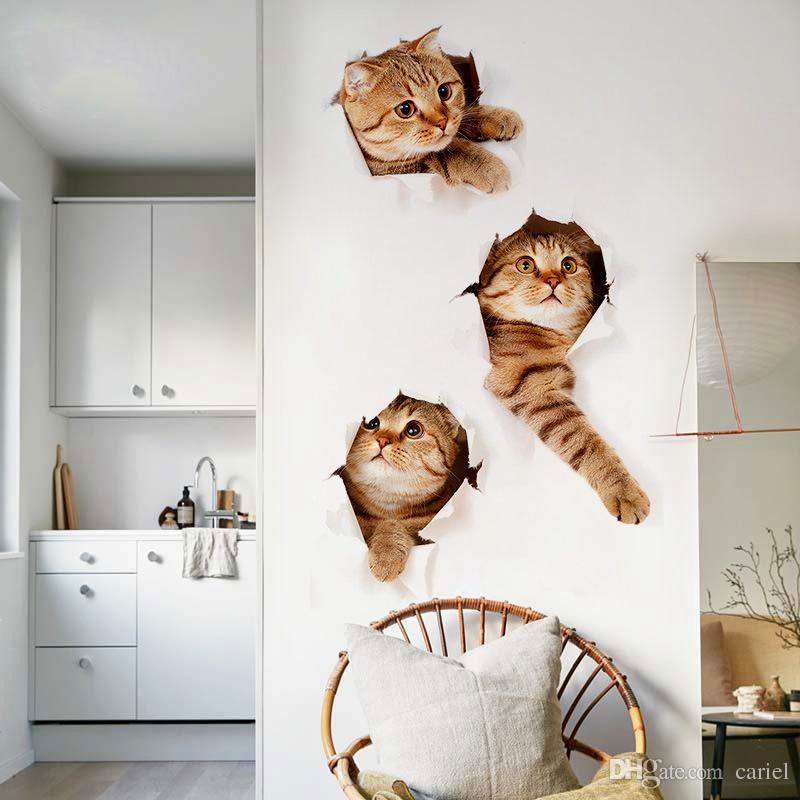 Cat Dog 3d Look Hole Wall Sticker Bathroom Toilet Decorations Kids Gift Kitchen Cute Home Decor Decal Mural Animal Poster Wn399 With
