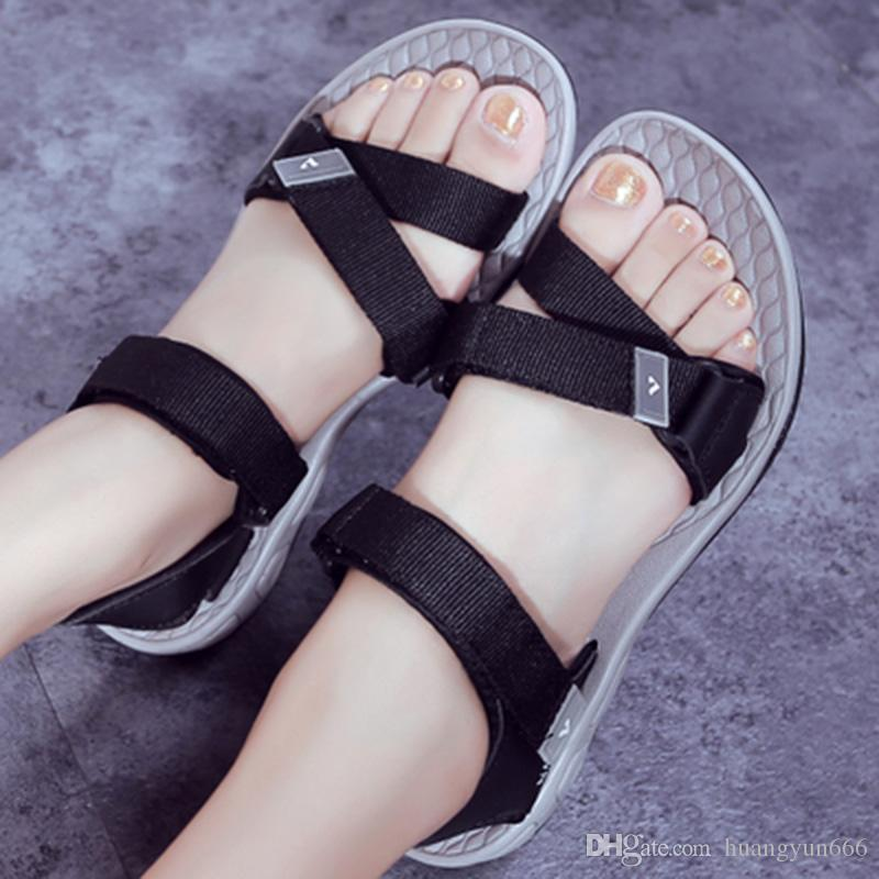 a57be42b0 Summer Sandals Shoes For Women Outdoor Beach Shoes 2018 New Students Fashion  Trend Word With Flat Bottom Comfort With Sandals Shoes Pumps Shoes Shoe Sale  ...