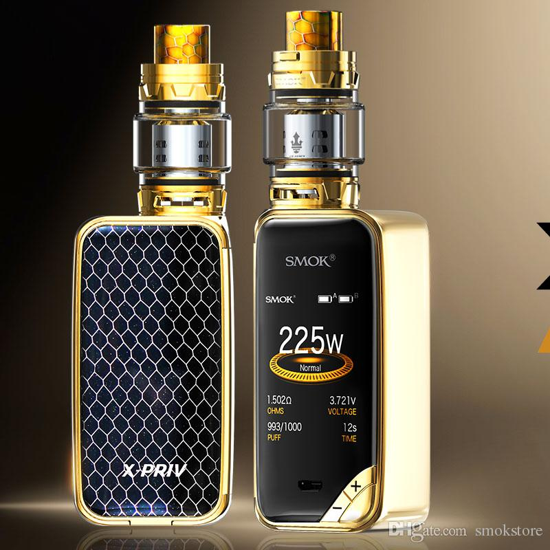 Authentic SMOK X-PRIV Kit All Screen 225W X Priv Mod TFV12 Prince Tank Atomizer Electronic Cigarette Kit 100% Original