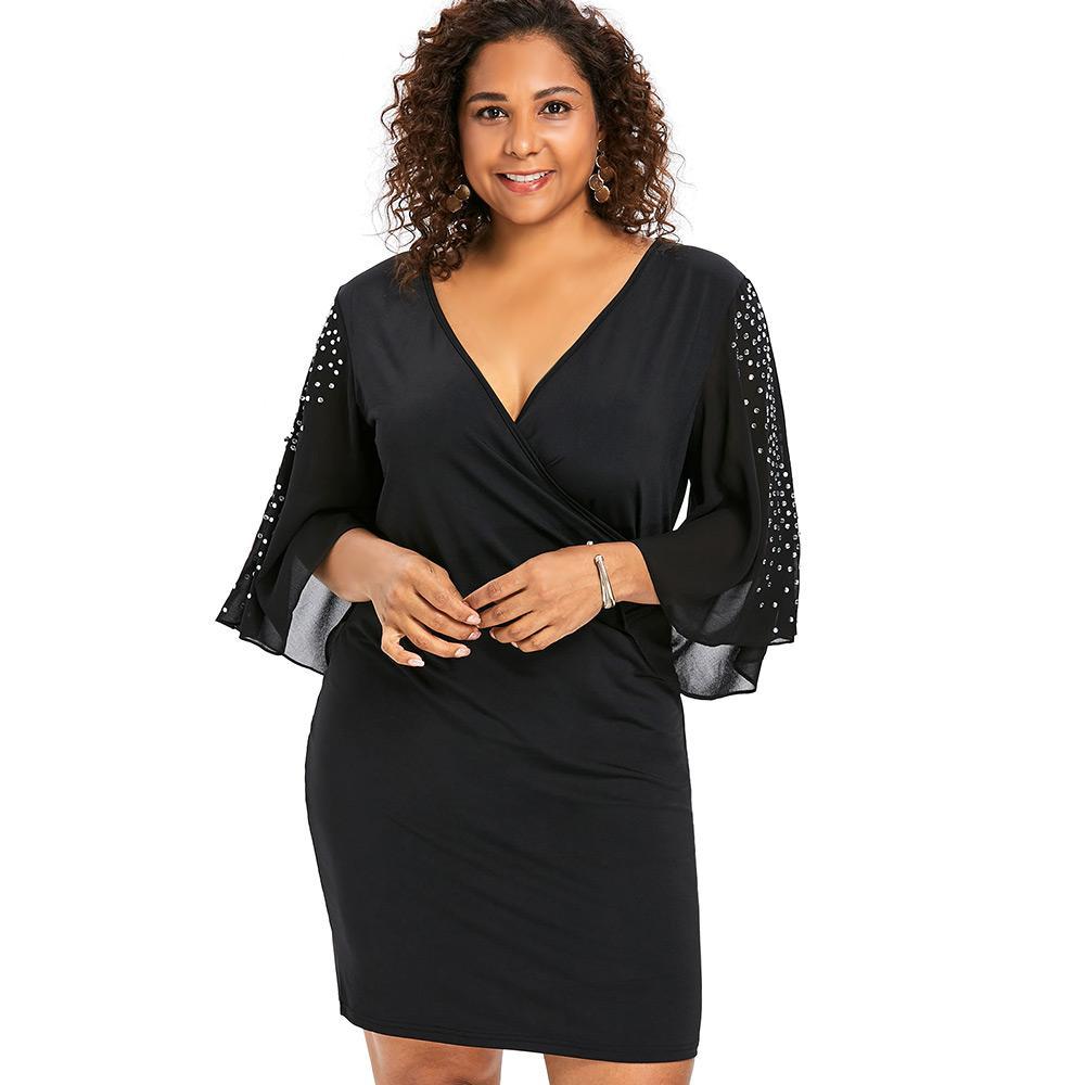 Wipalo Plus Size 5XL Flare Sleeve Overlap V Neck Bodycon Surplice Dress  Women Split Sleeve Sparkly Party Dresses Femme Vestidos Sale Black Dresses  Evening ... 6fb5ea8e6