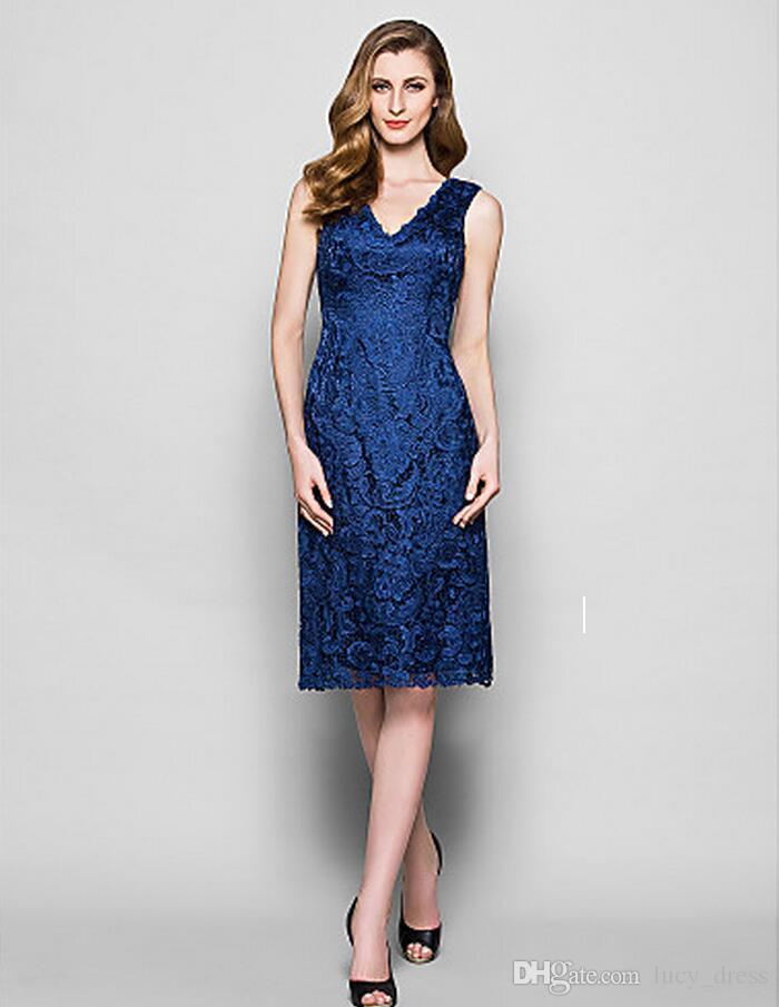 Graceful High Quality V-Ausschnitt Mantel Brautjungfer Spitze Kleider Sleeveless Maid der Ehre Knie-Länge Hochzeitsgast Kleid