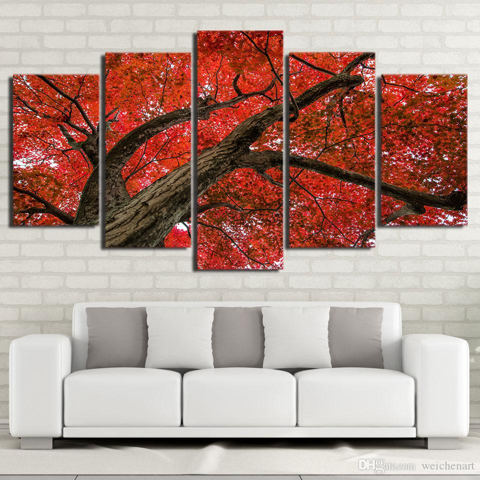 HD print canvas art Red Maple Tree modern Modular pictures canvas wall art 2018 new dropshipping