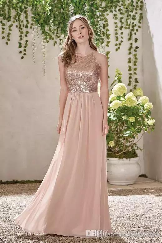 Elegante nuevo oro rosa dama de honor vestidos de una línea espagueti lentejuelas sin espalda de espagueta gasa barato barato playa de invitados de boda de boda dorada de vestidos de honor