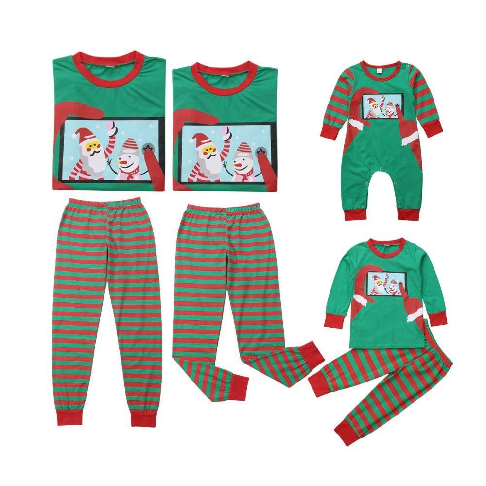 5c1778393 2018 Family clothes Christmas Mom Dad Baby kid Family Matching Sets  Christmas Green Top+Striped Pants X'mas Pajamas Clothing Set