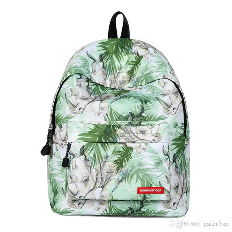 Wholesale Cheap Teens Cool Rhinoceros Printing College Backpacks Bag Fast Shipping Durable Rucksack Lady Style Backpack