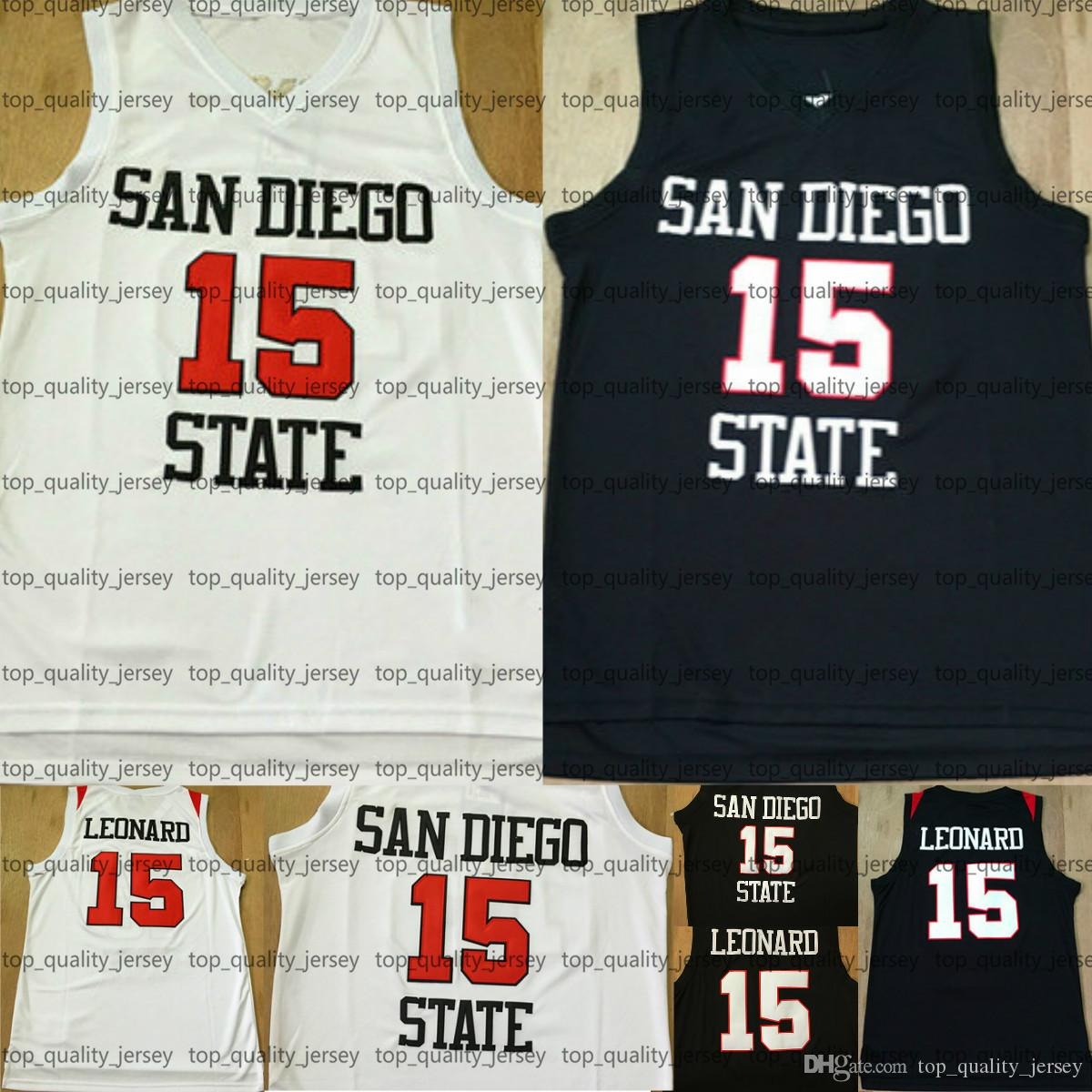 fc0d80e3580c ... cheapest 2018 mens san diego state aztecs 15 kawhi leonard college  basketball jerseys white black 2