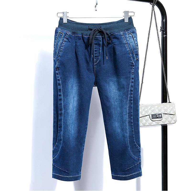 Compre Pantalones Vaqueros De Cintura Alta Mujer Tallas Grandes 5xl  Longitud De La Rodilla Skinny Vintage Capris Summer Mom Pantalones Cortos  Mujeres 2018 ... 8e9a72284cbf