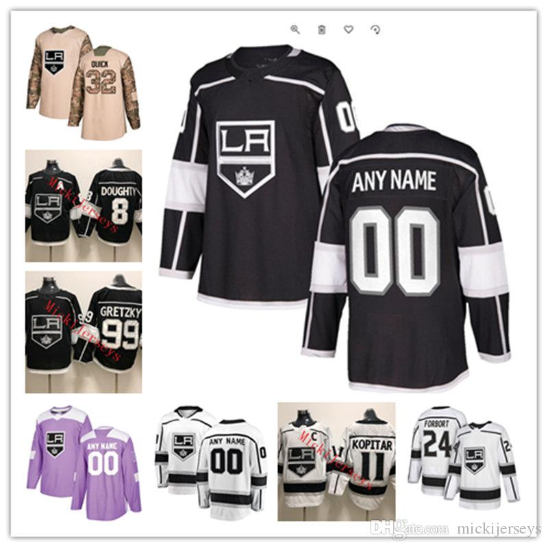 2019 Custom Los Angeles Kings Jersey Jack Campbell Cal Petersen Tyler  Toffoli Kyle Clifford Dustin Brown Alex Iafallo Adrian Kempe Kings Jersey  From ... 46acaa85d