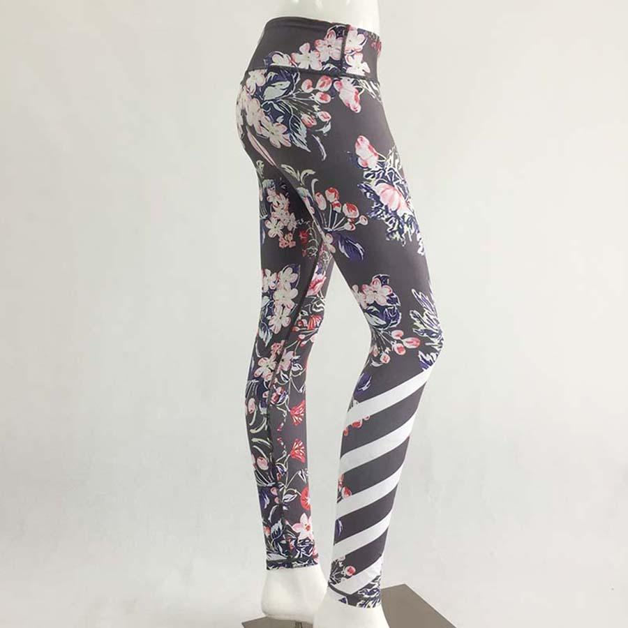 abe16a7490 2019 High Waist Print Flower Yoga Pants Women Fitness Sport Pants Leggings  Elastic Gym Workout Tights Running Jogging Clothes Trouser From Cumax, ...