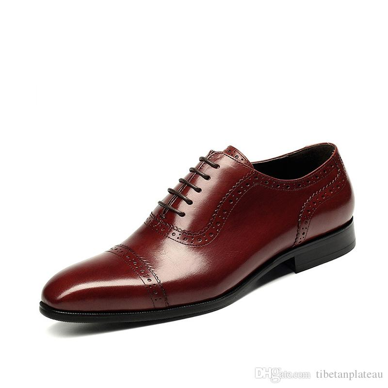 4ded468f4ab1b New Breathable Mens Business Lace Up Black Wine Red Formal Carved Dress  Genuine Leather Wedding Oxfords Office Shoes Skechers Shoes Mens Dress Shoes  From ...