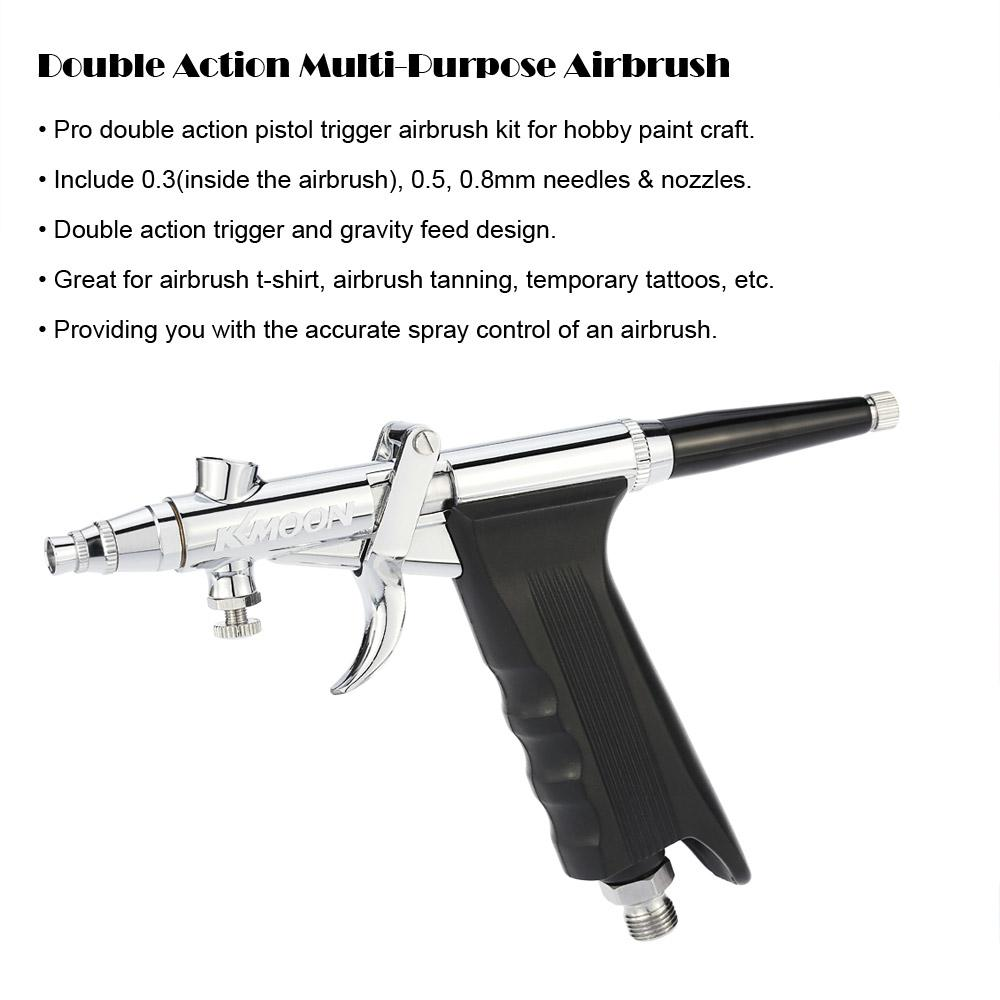 Double Action Airbrush comperssor Kit Spray Gun Air Brush Set with Hose 3 Tips/Cups body Paint Spray Model for Nail Tool Tattoo