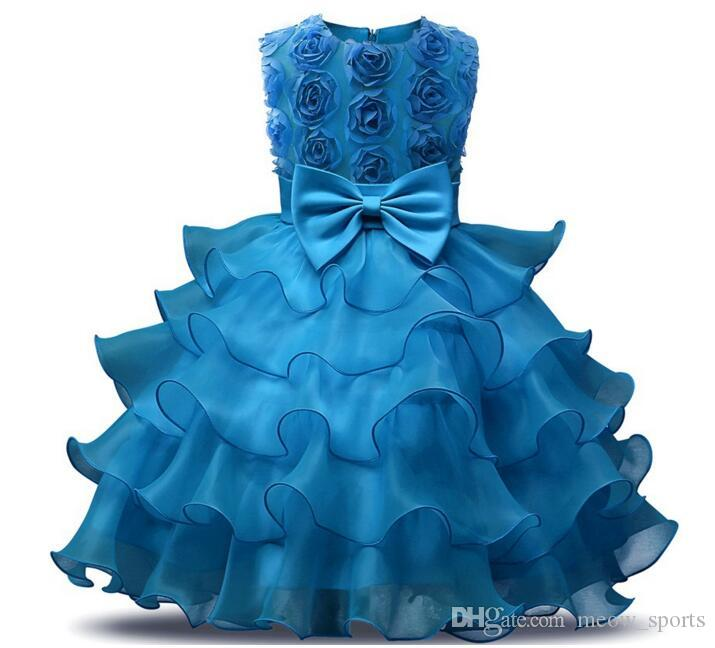꽃 소녀 드레스 웨딩 아기 소녀 0-10 년 생일 의상 어린이 여자 첫 영성체 드레스 소녀 아이 파티 볼 가운