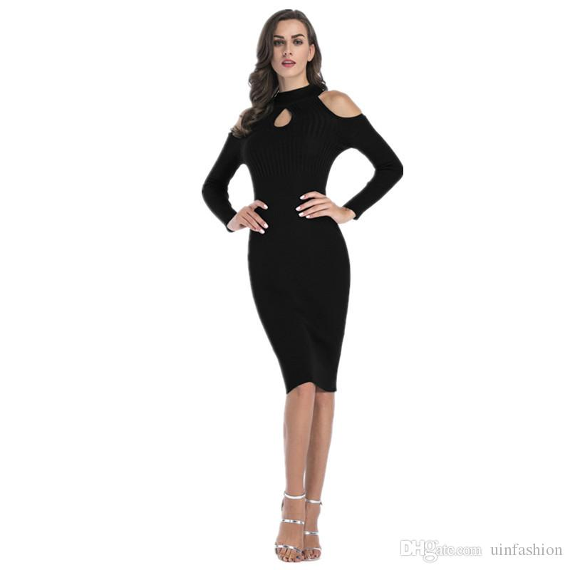 3eb6a98ebb0 Autumn Winter Knitted Dress Women Turtleneck Long Sleeve Warm Sweater Dress  Casual Solid Striped Long Dresses Vestido Womens Black Dresses Shopping  Dress ...