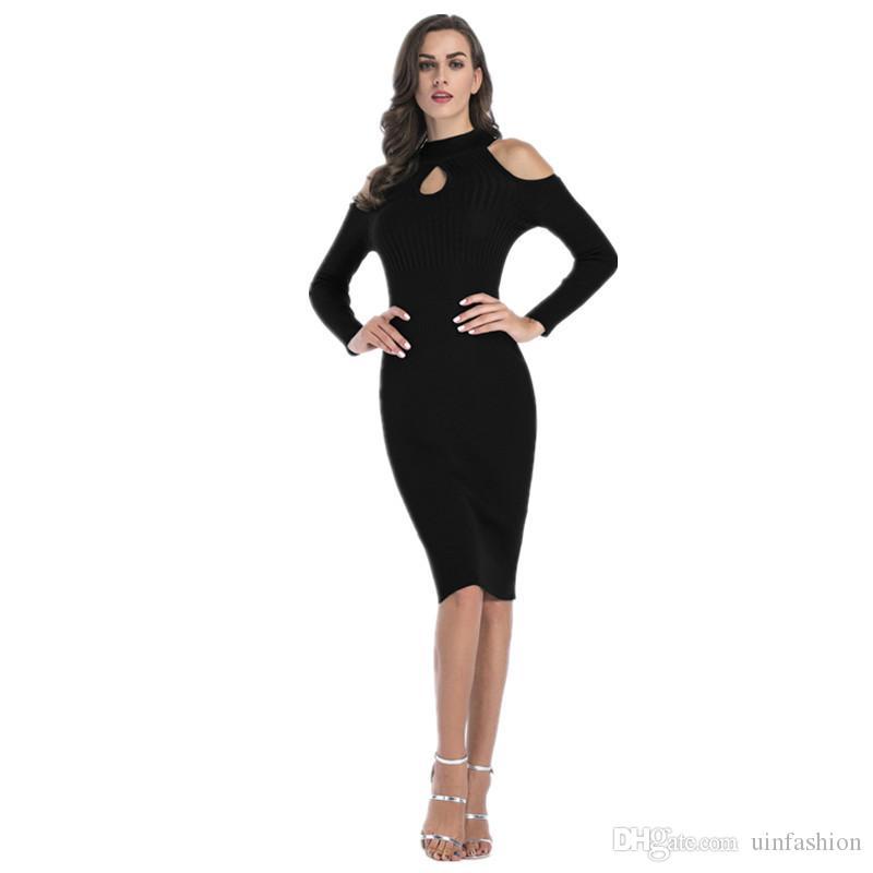 eca2a256a596 Compre Outono Inverno Vestido De Malha Mulheres Gola Alta Manga Comprida  Camisola Quente Vestido Casual Listrado Sólidos Vestidos Longos Vestido De  ...