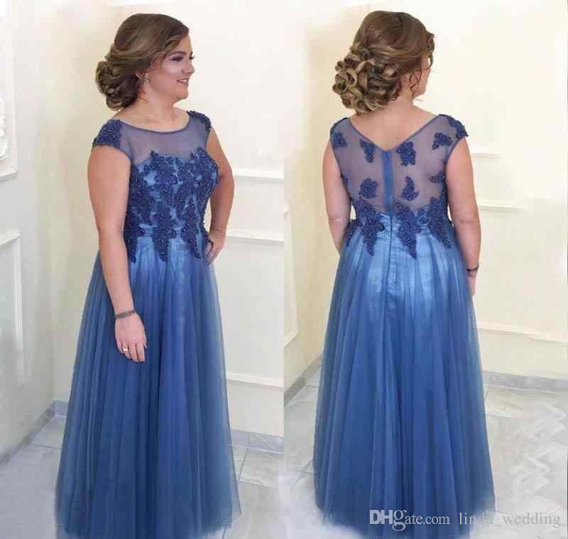 2018 Elegant Blue Illusion Mother Of The Bride Dresses