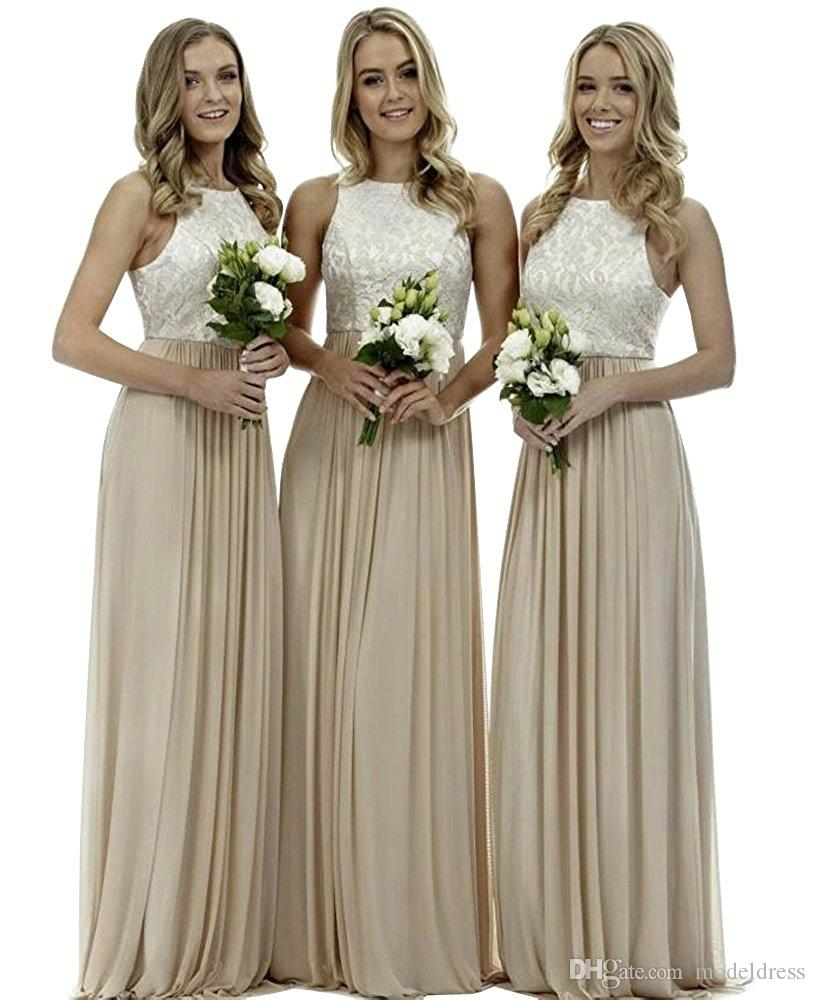 New Gray Bridesmaid Dresses 2018 Jewel Lace Top A Line Sweep Train Chiffon Summer Beach Wedding Guest Dress Party Prom Gowns Cheap