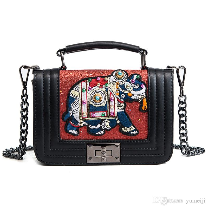 Brand Design Women Crossbody Bag 2018 Small Retro Embroidery Mini Tote Bags  Lady New Fashion Shoulder Bags Chain Elephant Pattern Totes Bags Leather  Totes ... 070674561a8b
