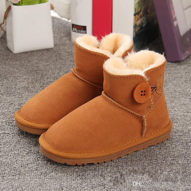 f6fc084e769 2018 New Children's Snow Boots Australian Style Cow Suede Leather  Waterproof Winter Warm Ankle Boots Brand 10 Colors Girls Size 21-35 Ugs