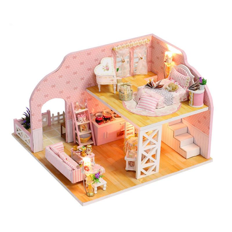 Newest Brand Diy Double Loft Doll House Furniture Kits Wooden