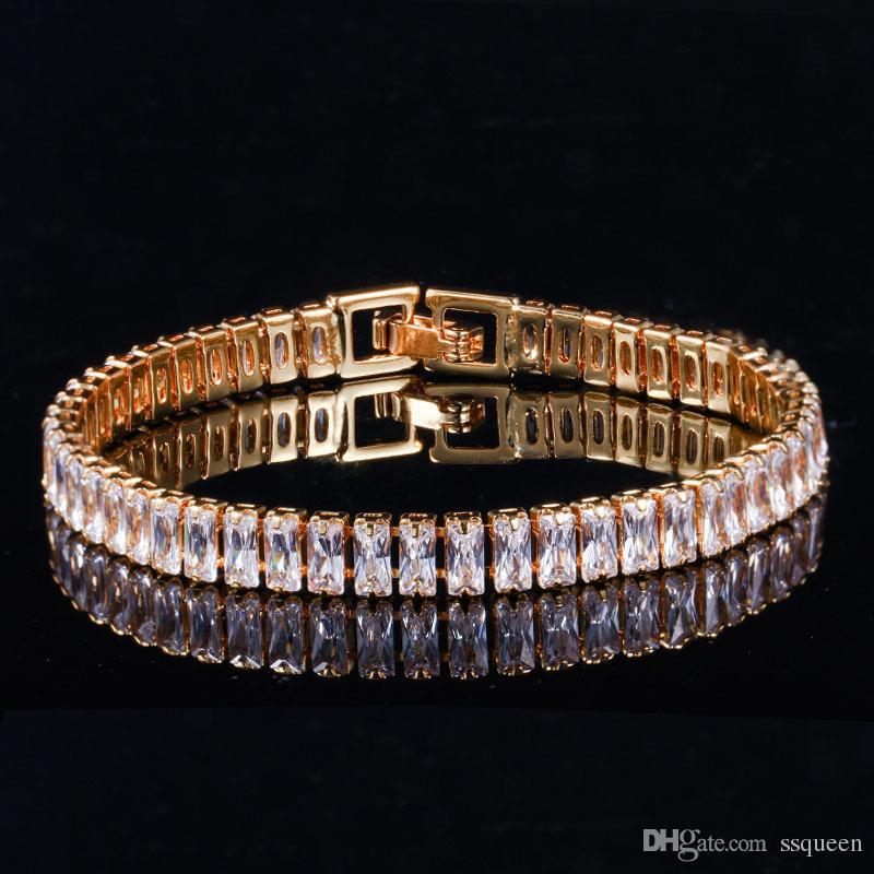 CZ diamond women tennis bracelet 3 layers 18k gold plated high grade rectangle zirconia bracelets with extension