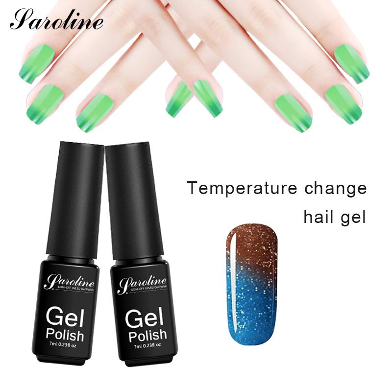 Saroline Lucky Gel Varnish Mood Change Thermo Gel Nail Polish Professional Soak Off Temperature Changing 29 Color UV Lacquer