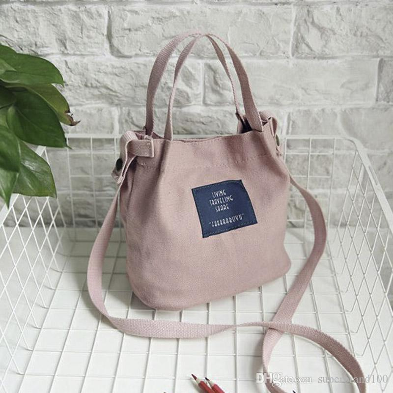 Dame Canvas Handtasche Mini Einzelner Schulterbeutel Umhängetasche Umhängetasche Frauen Swagger Bag Weibliche Einkaufstaschen Bucket Pack