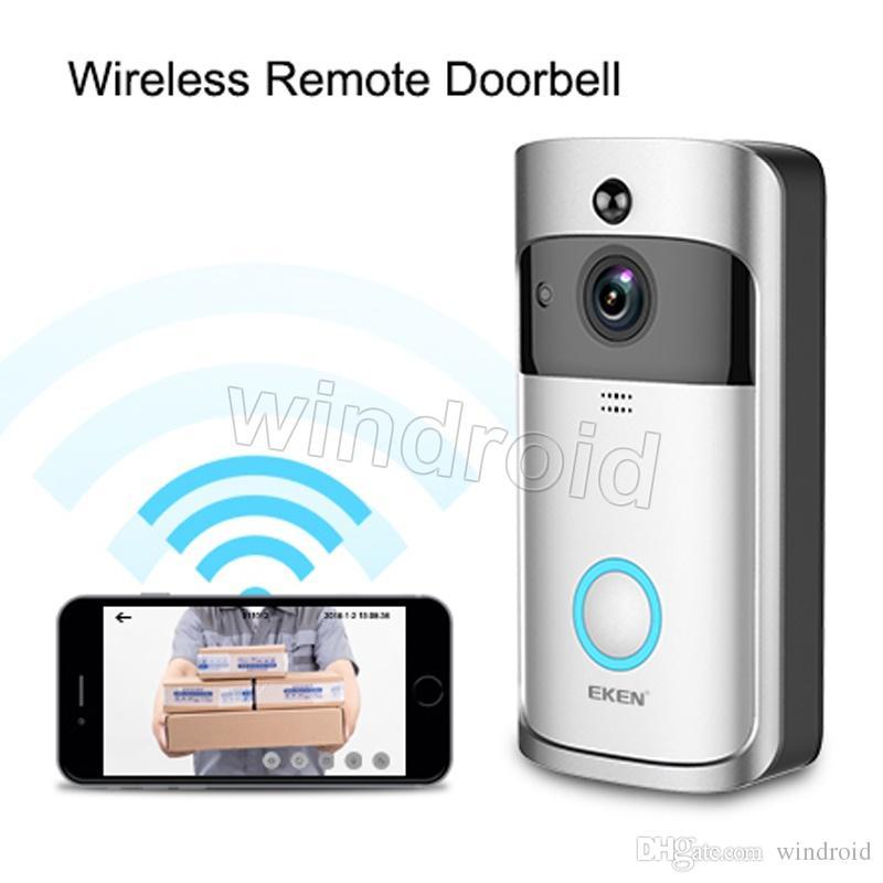 EKEN Ev Video Kablosuz Kapı Zili 2 720 P HD Wifi Gerçek Zamanlı Video İki Yönlü Ses Gece Görüş PIR Hareket Algılama bells APP Kontrolü ile