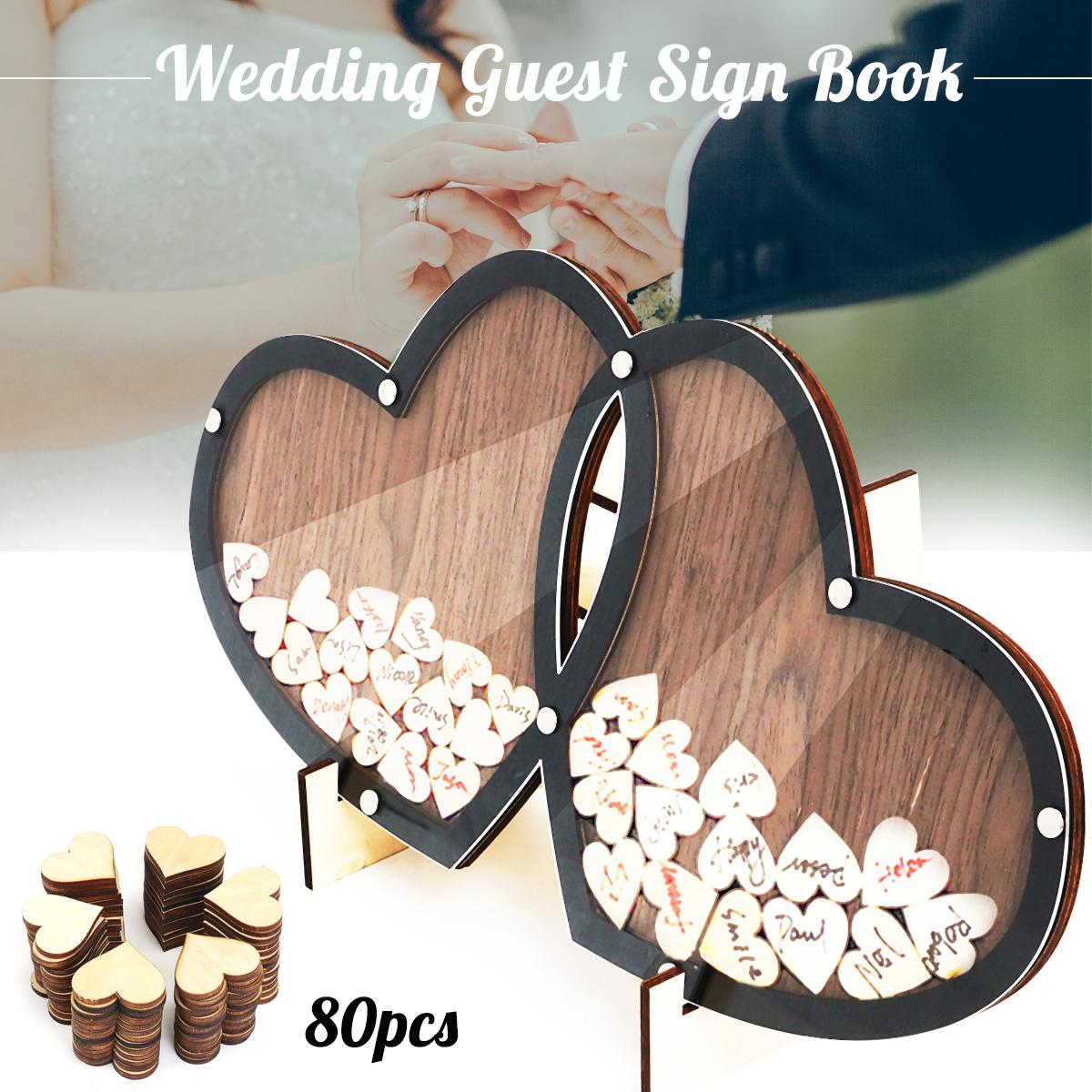 Wooden Hearts Wedding Guest Book Double Heart Visit Frame Signature