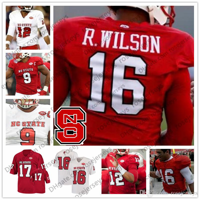buy popular fe790 4a204 NC State Wolfpack #7 Nyheim Hines 28 Jaylen Samuels 19 CJ Riley 33 Brady  Bodine 86 Emeka Emezie Retired Football White Red Jersey
