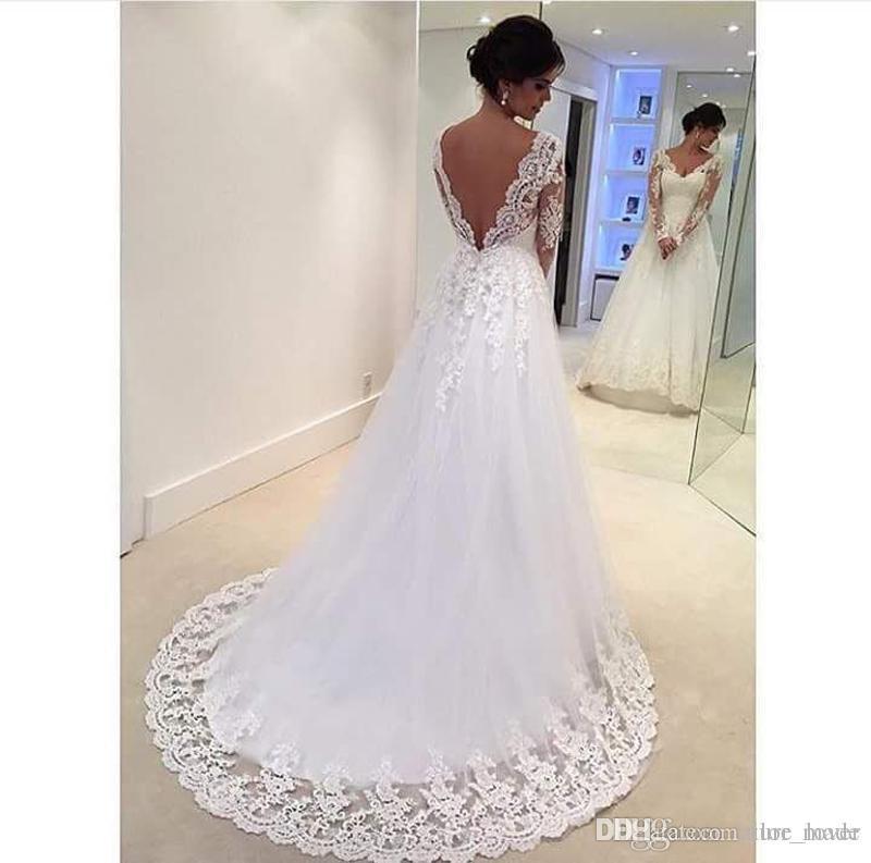Vestidos De Novia 2018 Envío gratis Sexy Backless Lace Vestidos de novia Vestido de novia de manga larga Hecho en vestido de novia de China