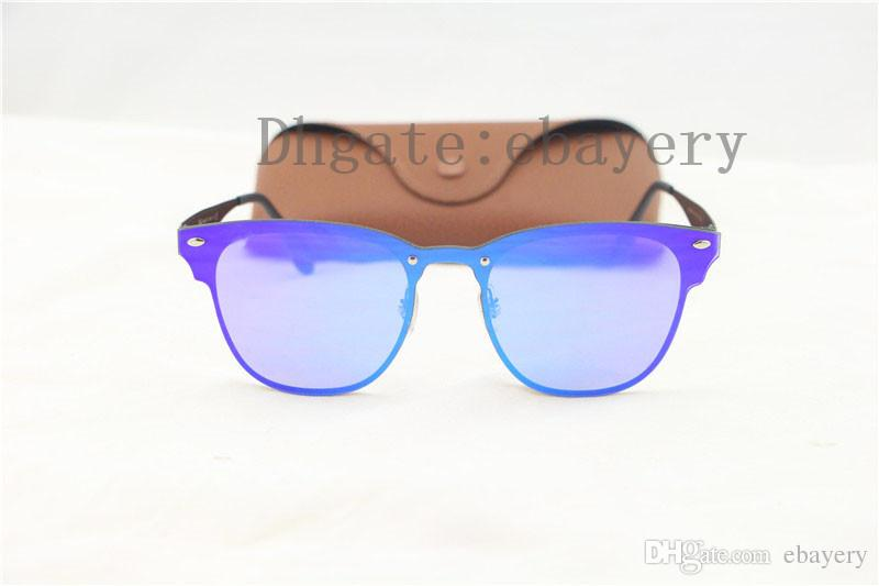 2018 Newest Fashion 3576 Traveller Style Rivets Sunglasses Men Women Brand Design Quality Metal Mirror Flash Sun Glasses With Box,Case